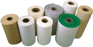 various rolls of material used to make dust collector filter bags